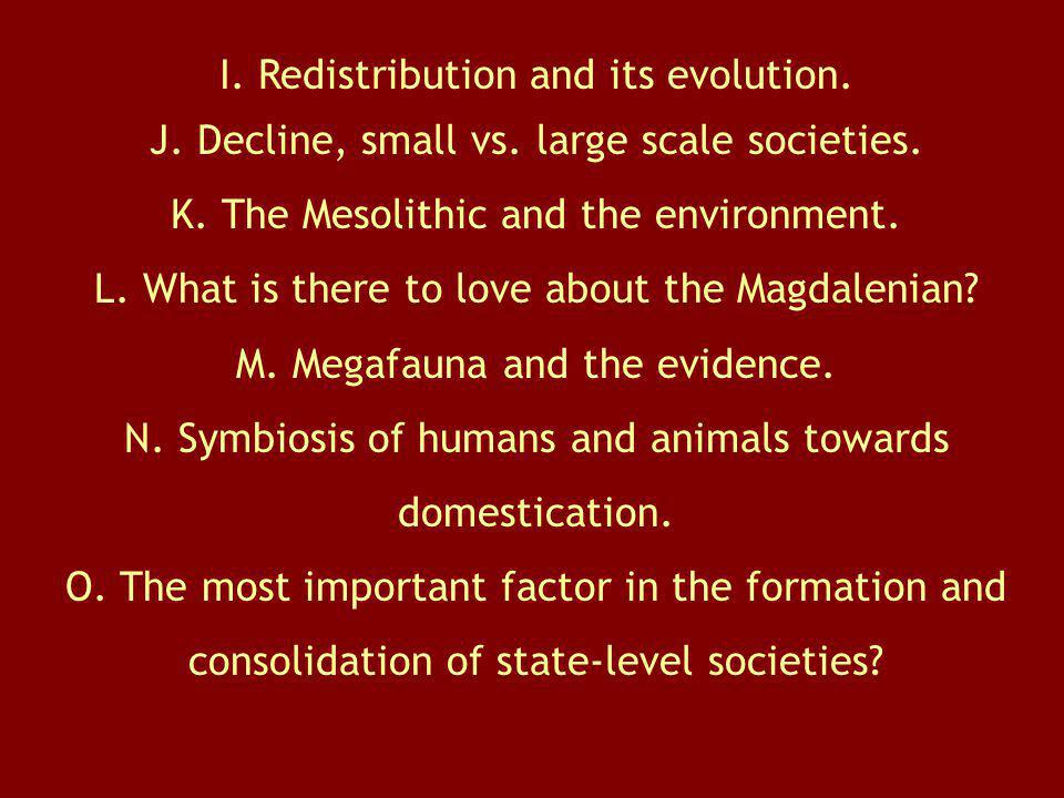I. Redistribution and its evolution.