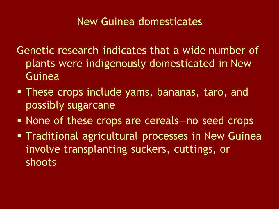 New Guinea domesticates