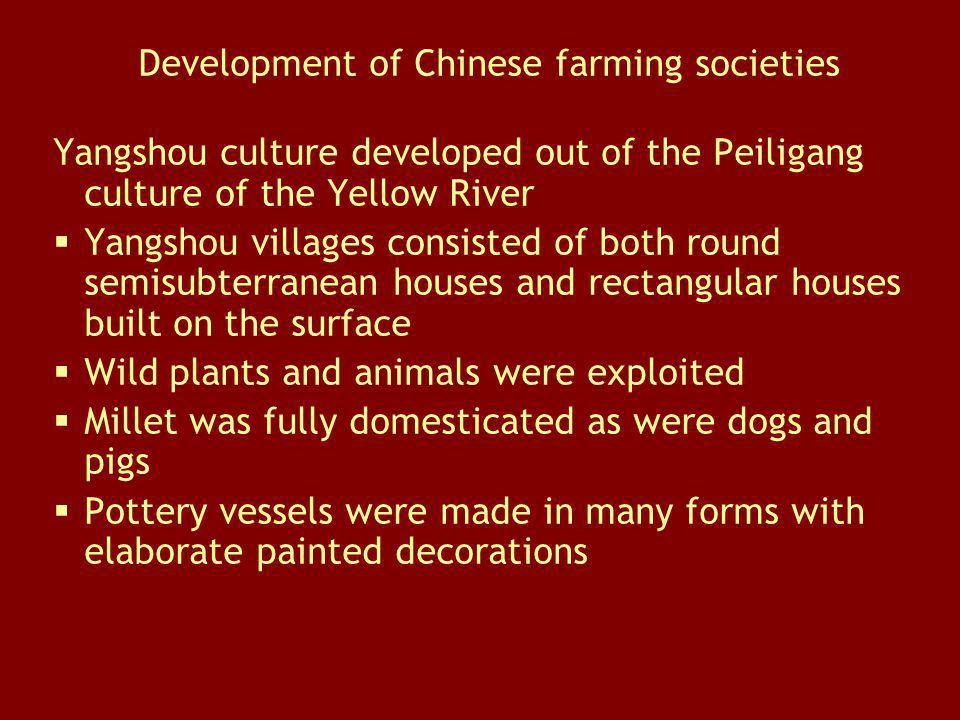 Development of Chinese farming societies