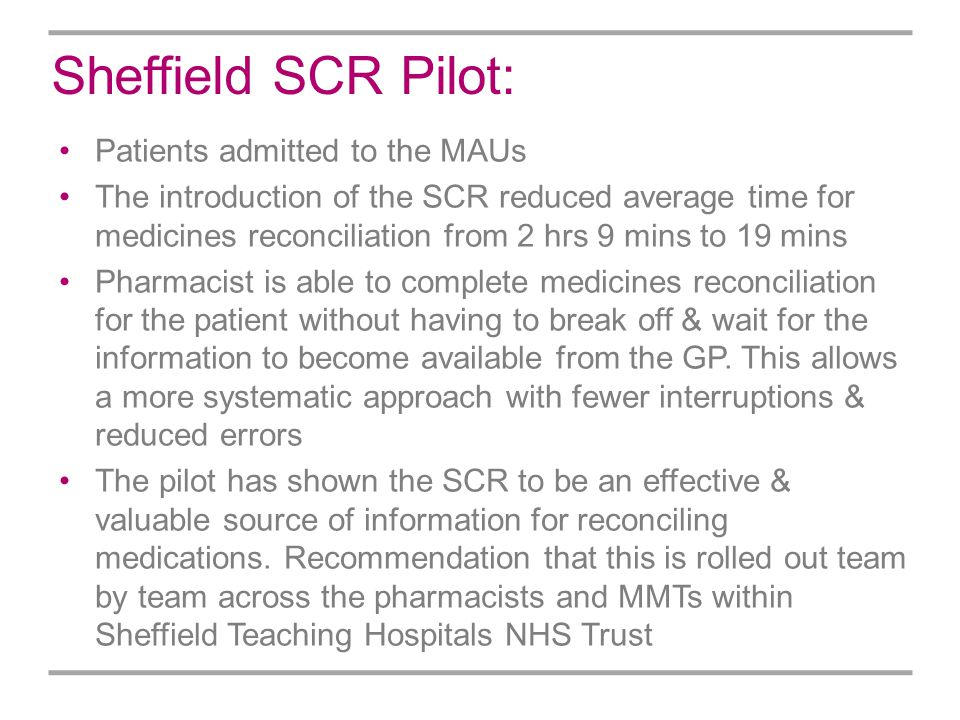 Sheffield SCR Pilot: Patients admitted to the MAUs