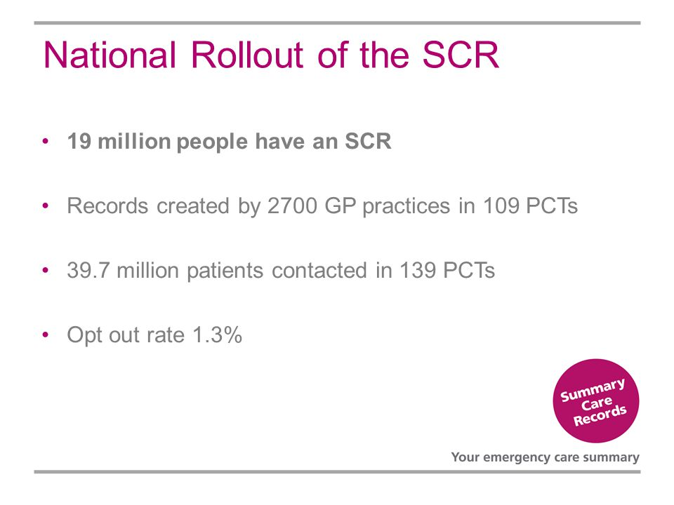 National Rollout of the SCR