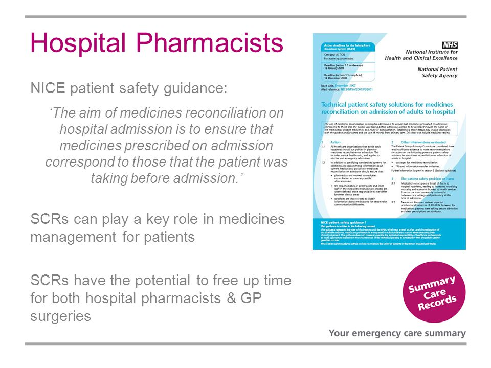 Hospital Pharmacists NICE patient safety guidance: