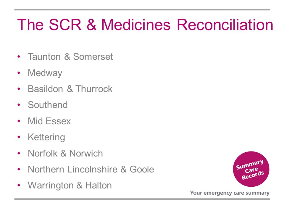 The SCR & Medicines Reconciliation