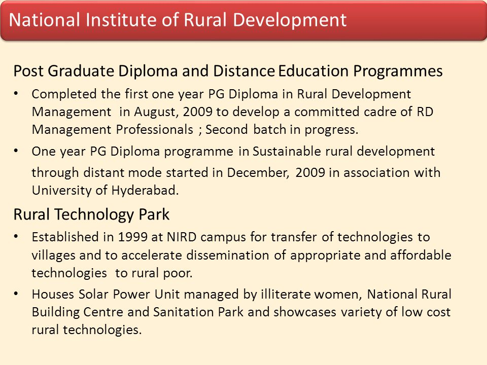 Post Graduate Diploma and Distance Education Programmes