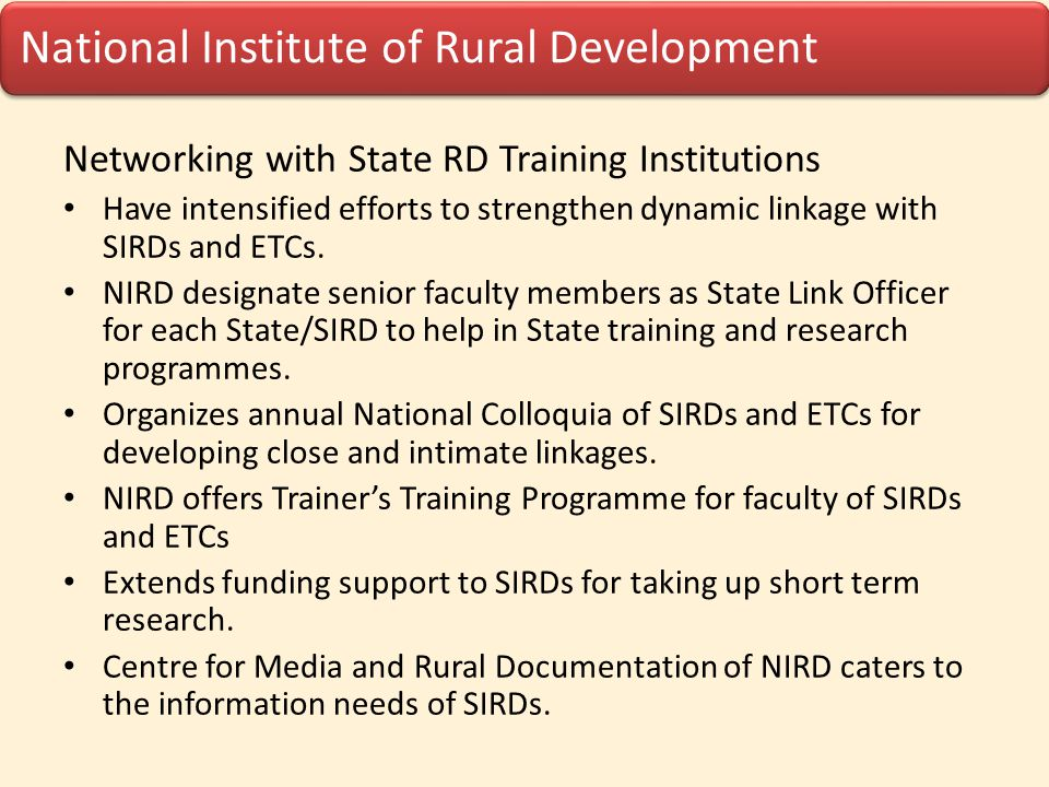 Networking with State RD Training Institutions
