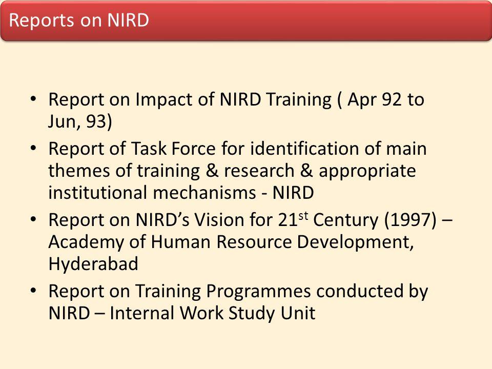 Report on Impact of NIRD Training ( Apr 92 to Jun, 93)