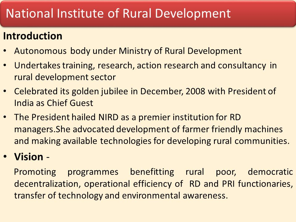 National Institute of Rural Development