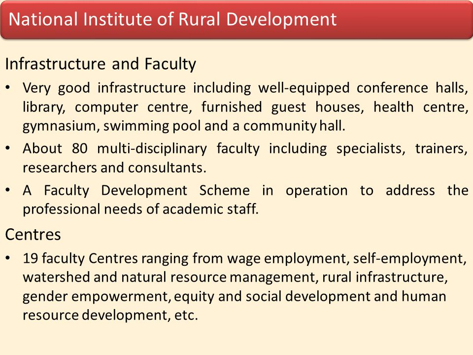 Infrastructure and Faculty