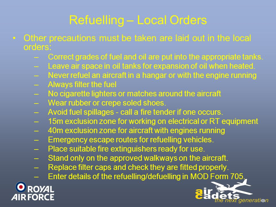 Refuelling – Local Orders