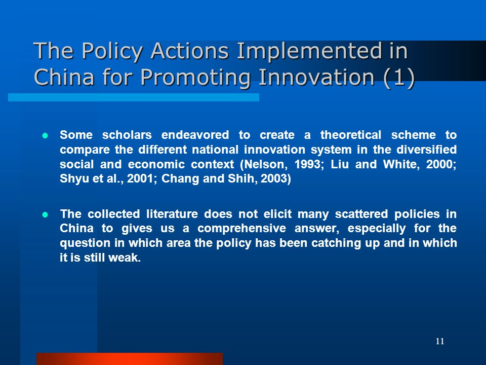 The Policy Actions Implemented in China for Promoting Innovation (1)