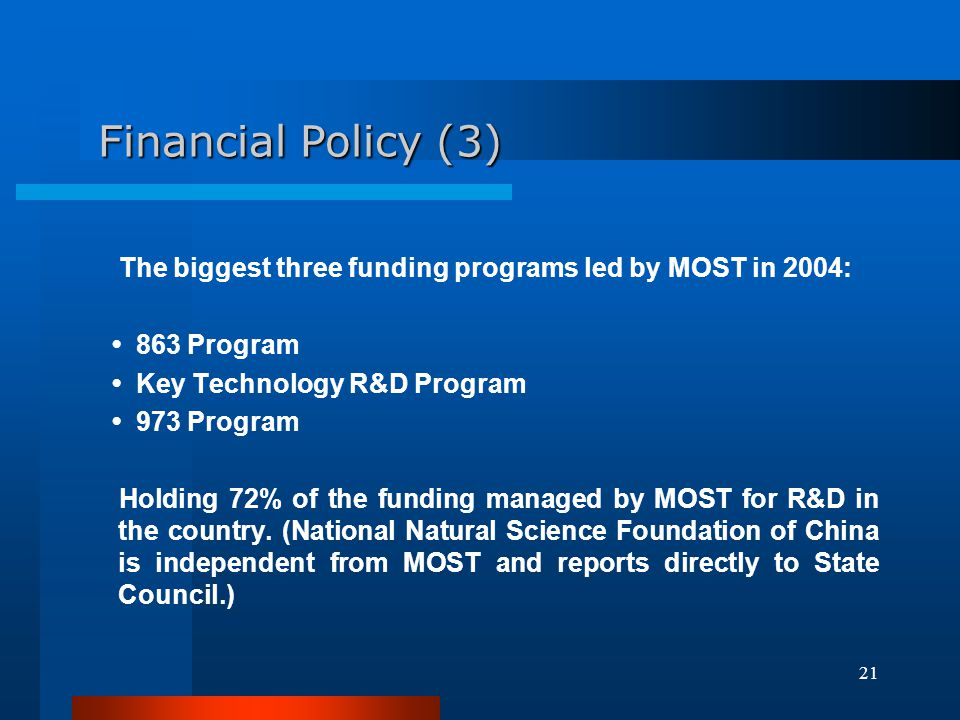 Financial Policy (3) The biggest three funding programs led by MOST in 2004: • 863 Program. • Key Technology R&D Program.