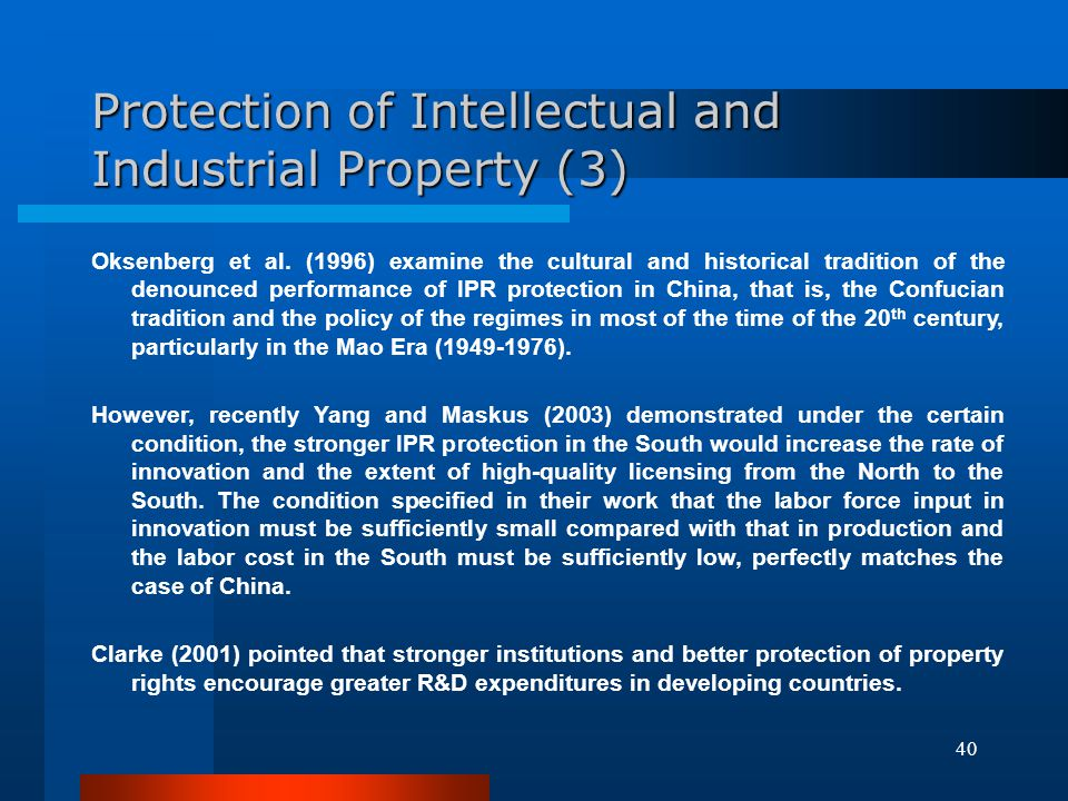Protection of Intellectual and Industrial Property (3)
