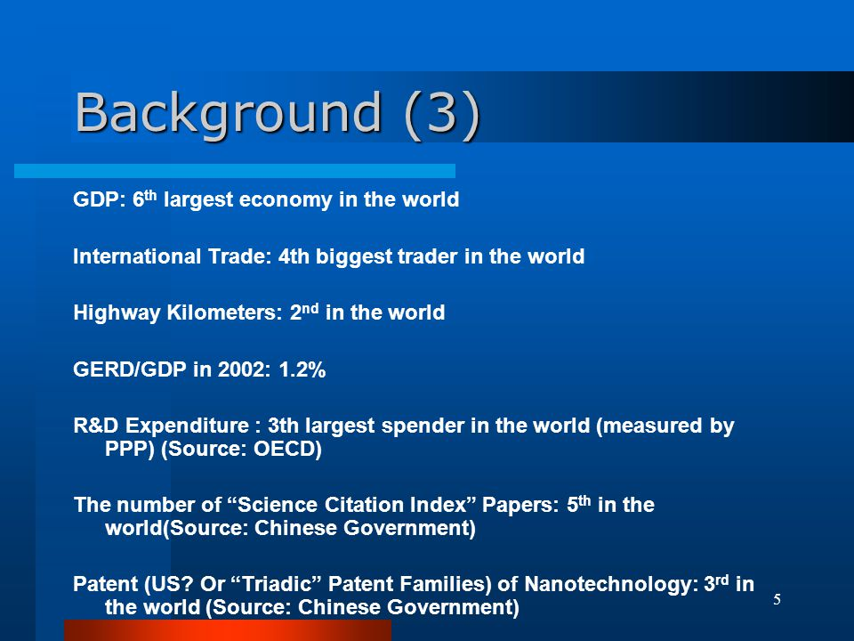 Background (3) GDP: 6th largest economy in the world