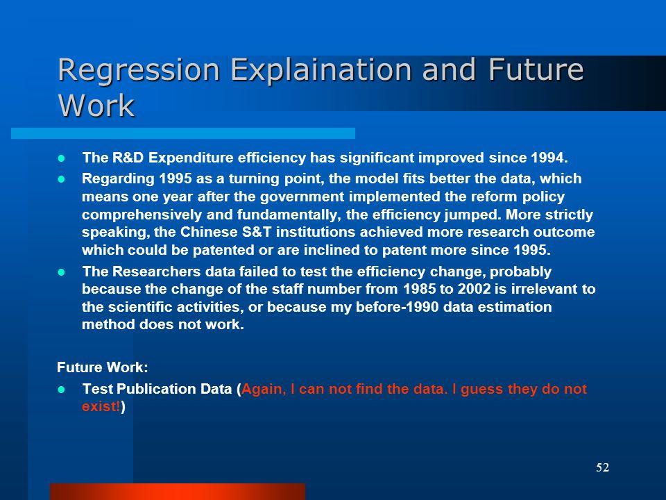 Regression Explaination and Future Work