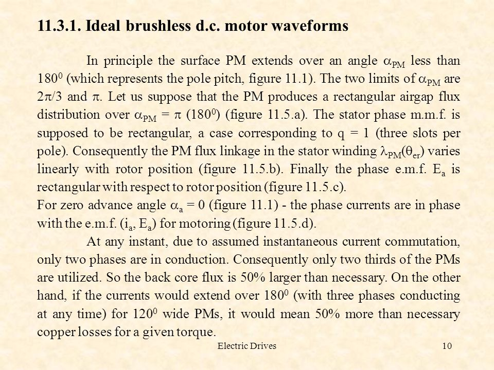 Ideal brushless d.c. motor waveforms