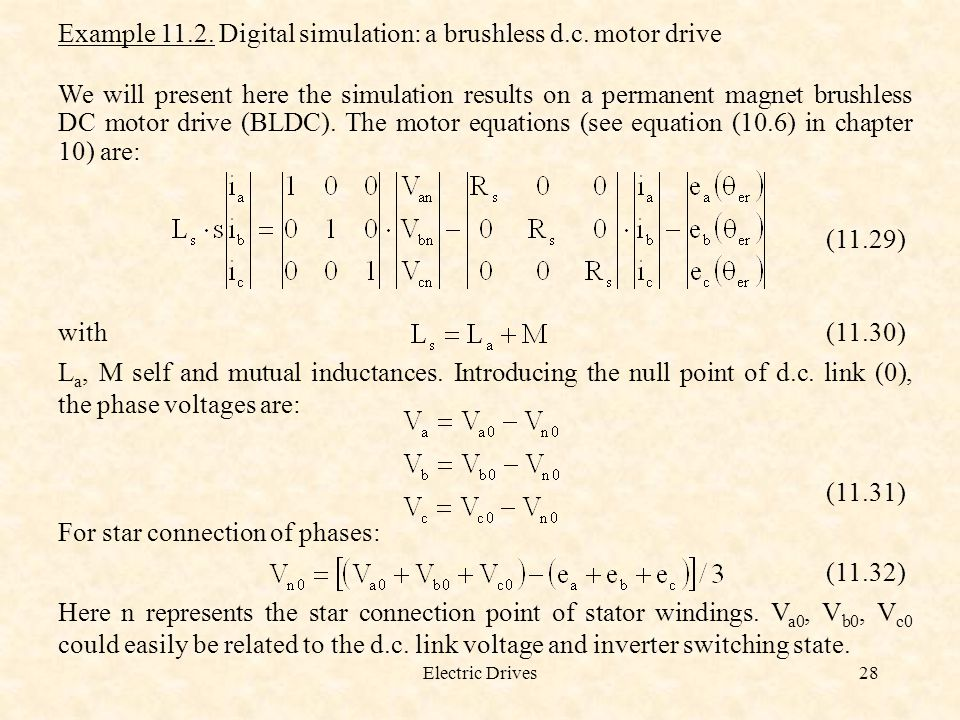Example Digital simulation: a brushless d.c. motor drive