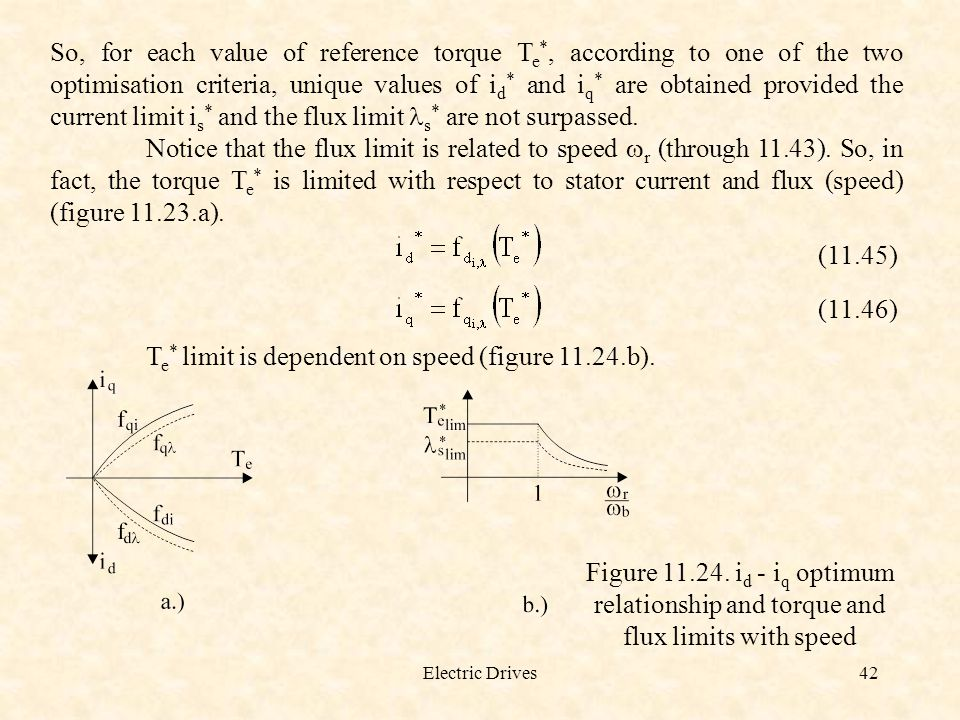 Te* limit is dependent on speed (figure 11.24.b).