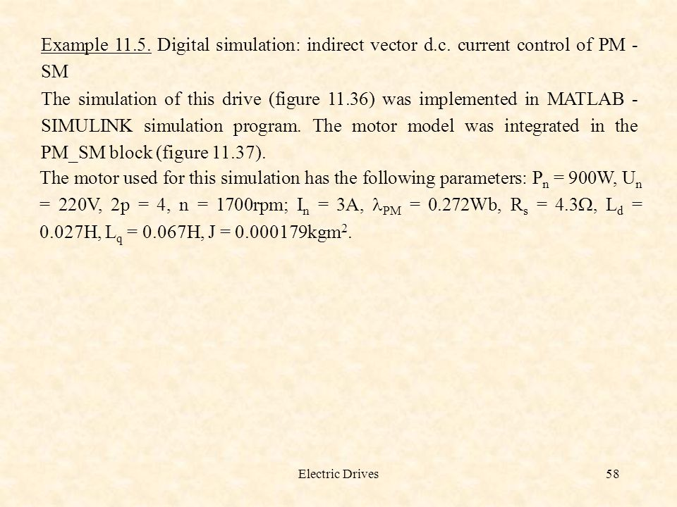 Example 11. 5. Digital simulation: indirect vector d. c