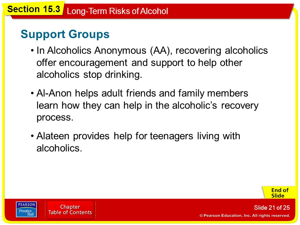 Support Groups In Alcoholics Anonymous (AA), recovering alcoholics offer encouragement and support to help other alcoholics stop drinking.