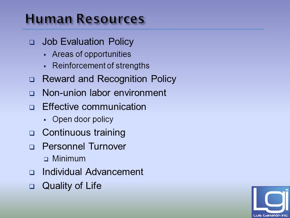Human Resources Job Evaluation Policy Reward and Recognition Policy