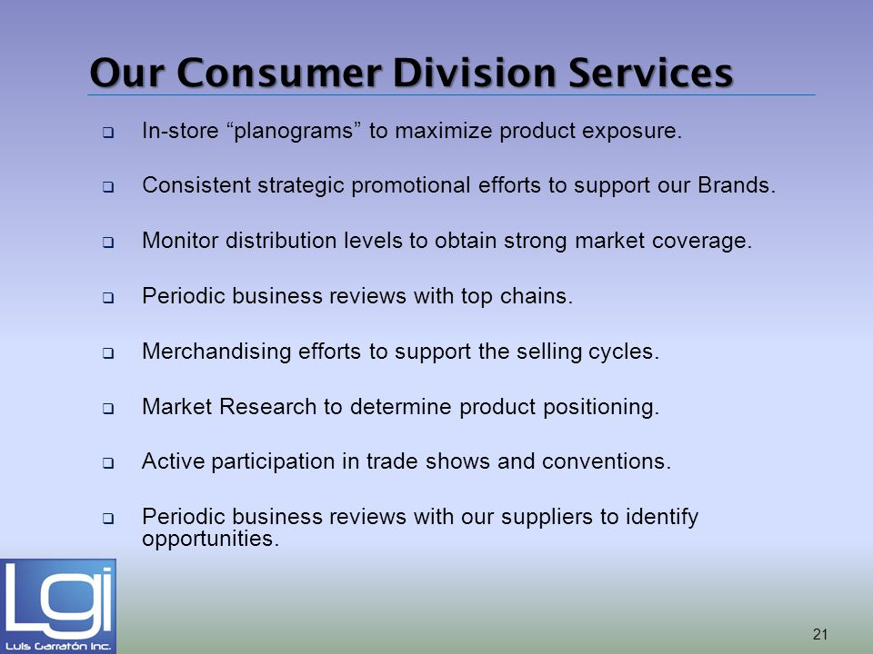 Our Consumer Division Services