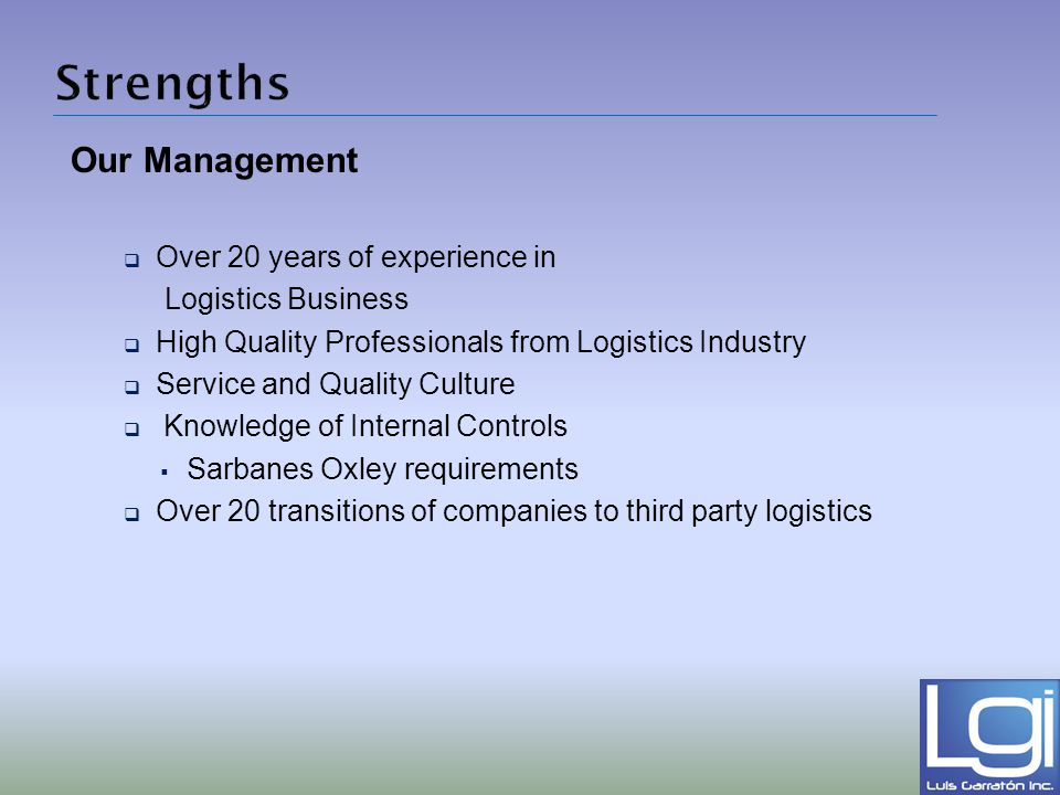 Strengths Our Management Over 20 years of experience in