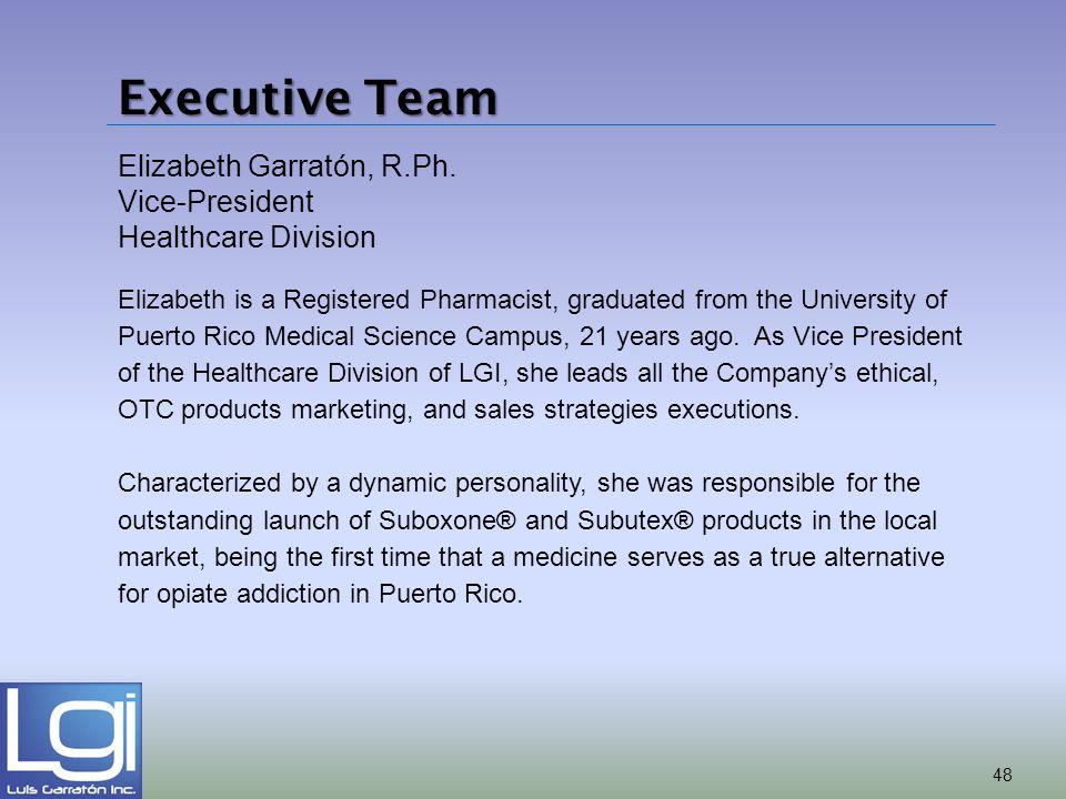Executive Team Elizabeth Garratón, R.Ph. Vice-President