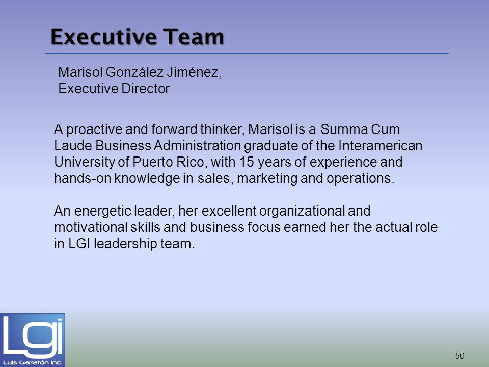 Executive Team Marisol González Jiménez, Executive Director