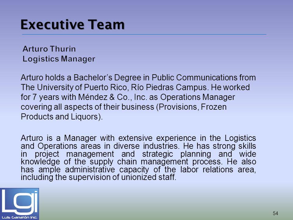 Arturo Thurin Logistics Manager