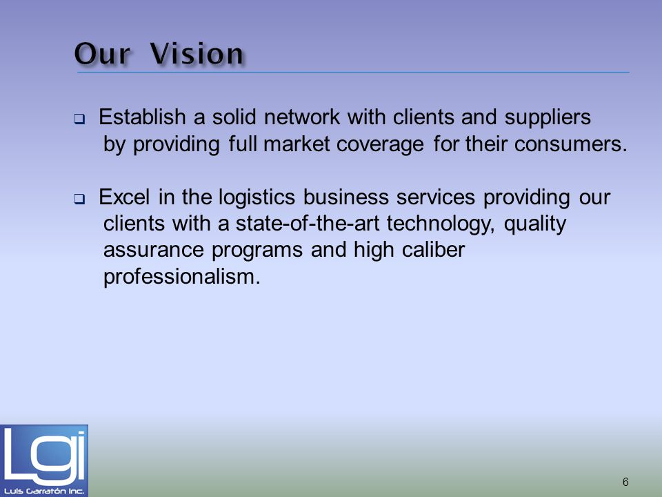 Our Vision Establish a solid network with clients and suppliers