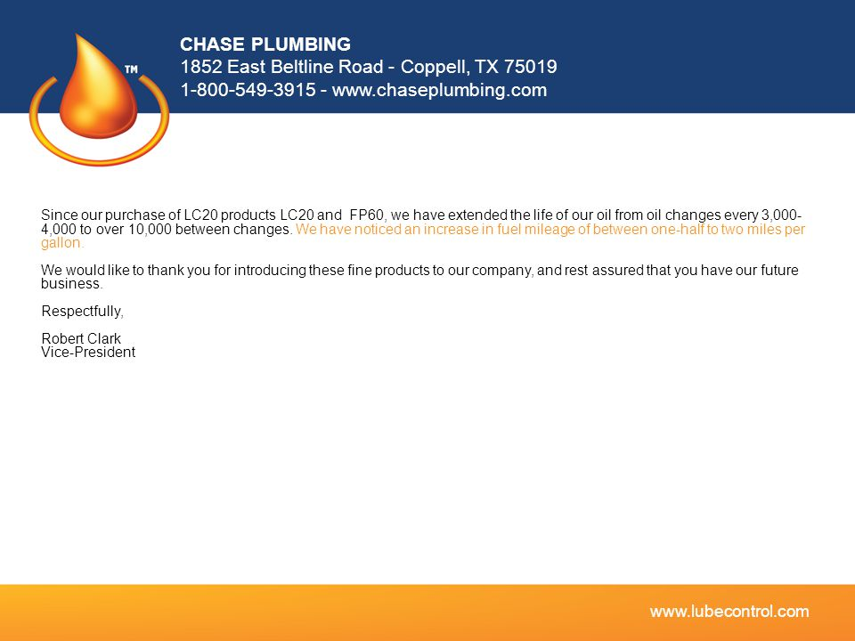 CHASE PLUMBING 1852 East Beltline Road - Coppell, TX 75019 1-800-549-3915 - www.chaseplumbing.com