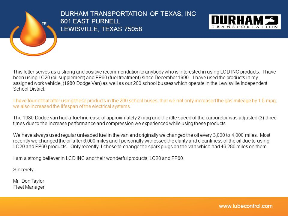 DURHAM TRANSPORTATION OF TEXAS, INC 601 EAST PURNELL