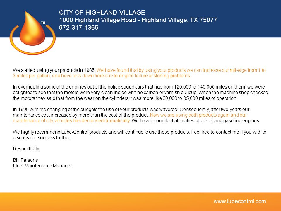 CITY OF HIGHLAND VILLAGE 1000 Highland Village Road - Highland Village, TX 75077 972-317-1365