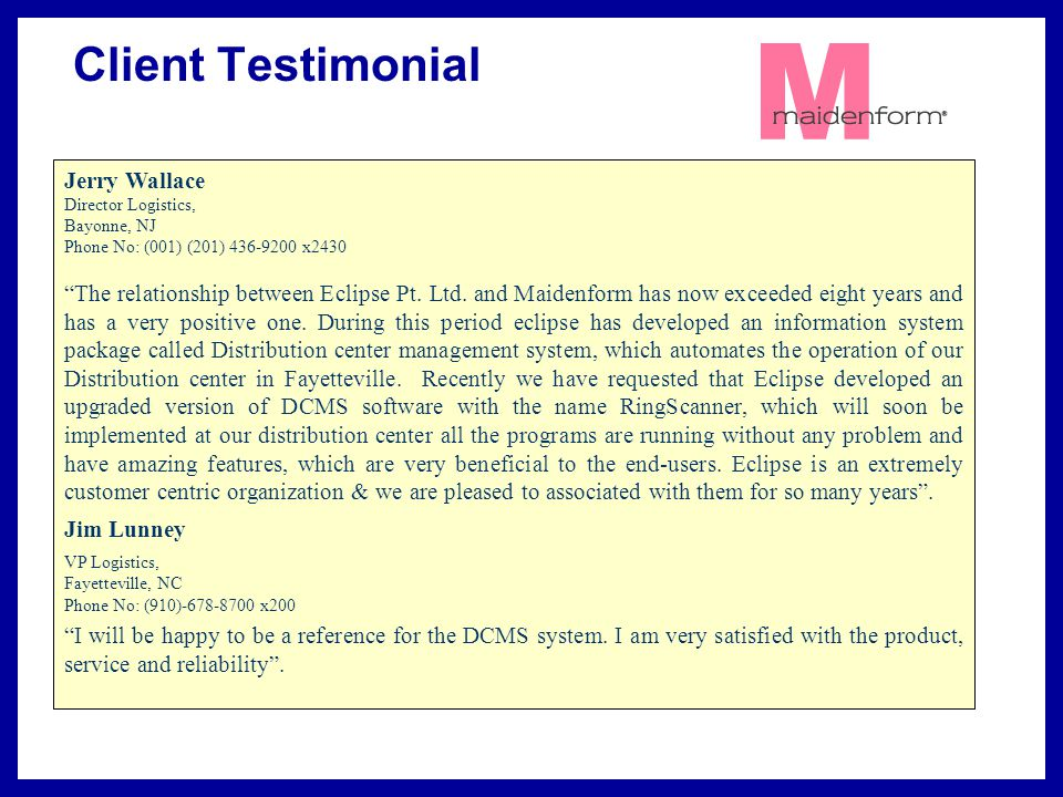 Client Testimonial Jerry Wallace