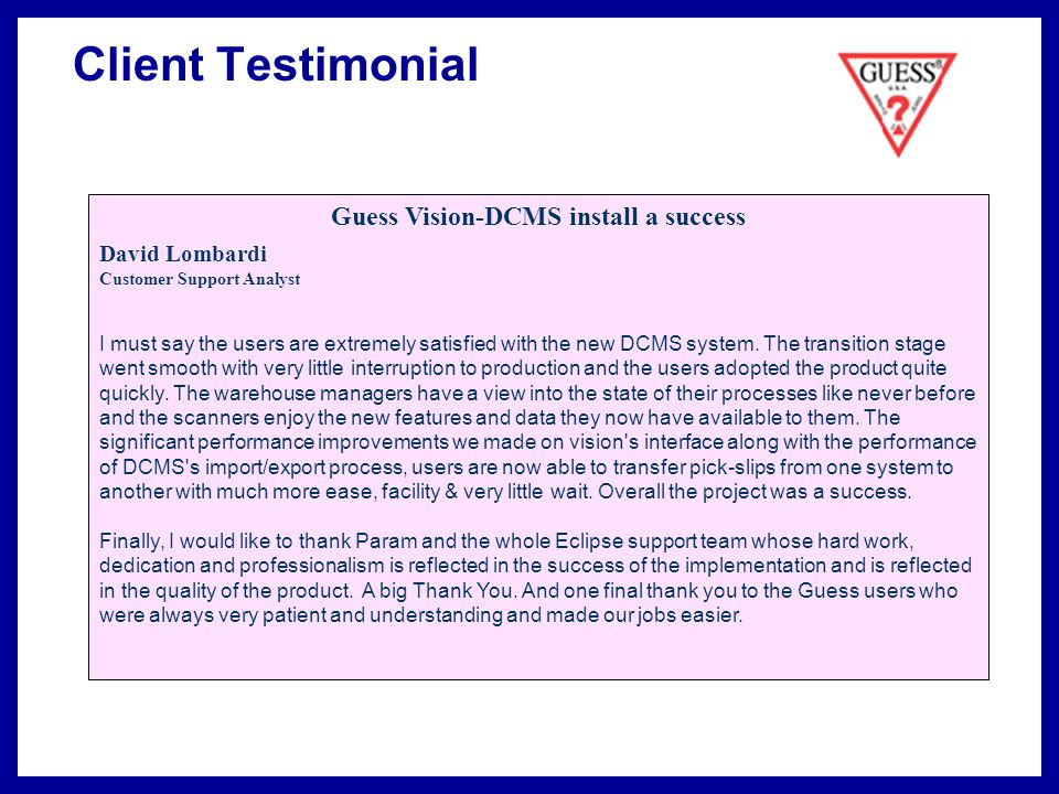 Guess Vision-DCMS install a success