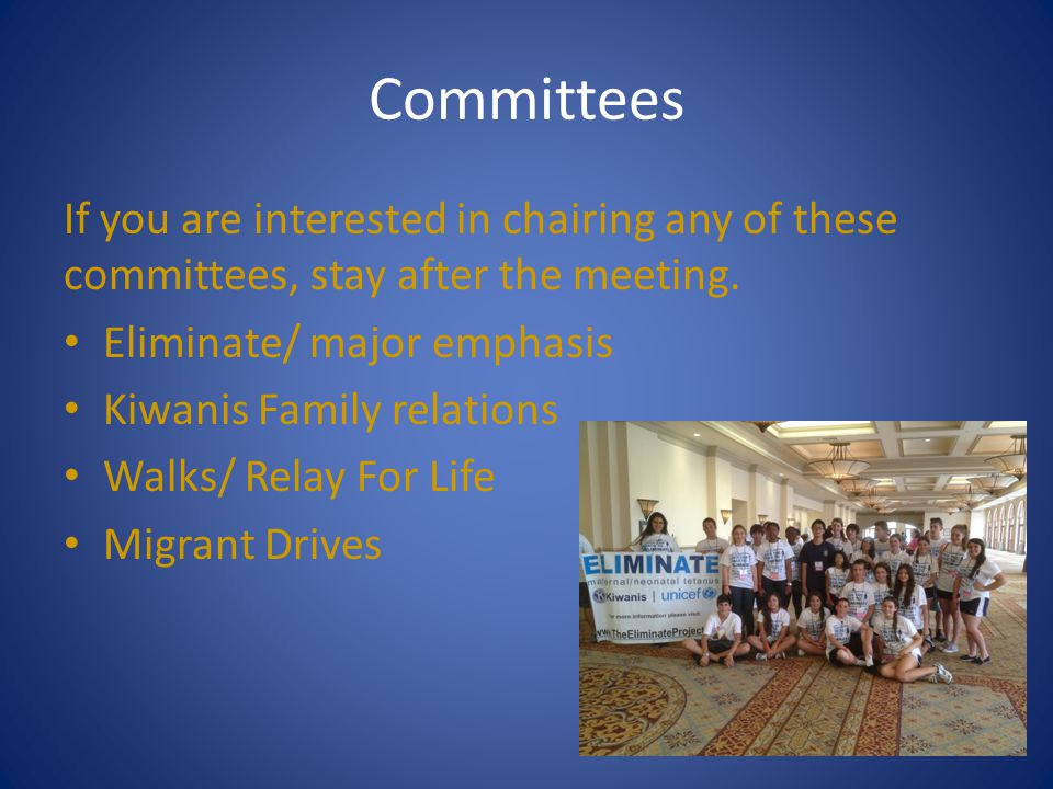 Committees If you are interested in chairing any of these committees, stay after the meeting. Eliminate/ major emphasis.