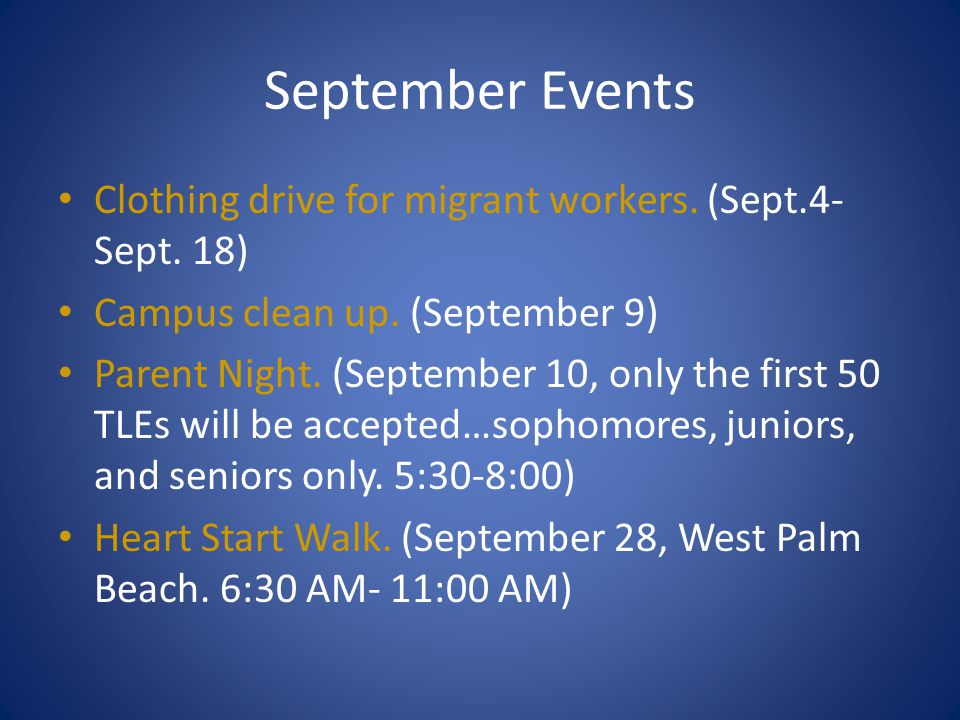 September Events Clothing drive for migrant workers. (Sept.4-Sept. 18)