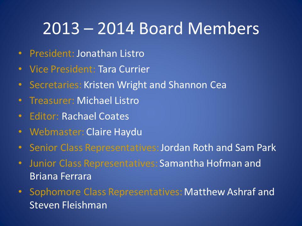 2013 – 2014 Board Members President: Jonathan Listro