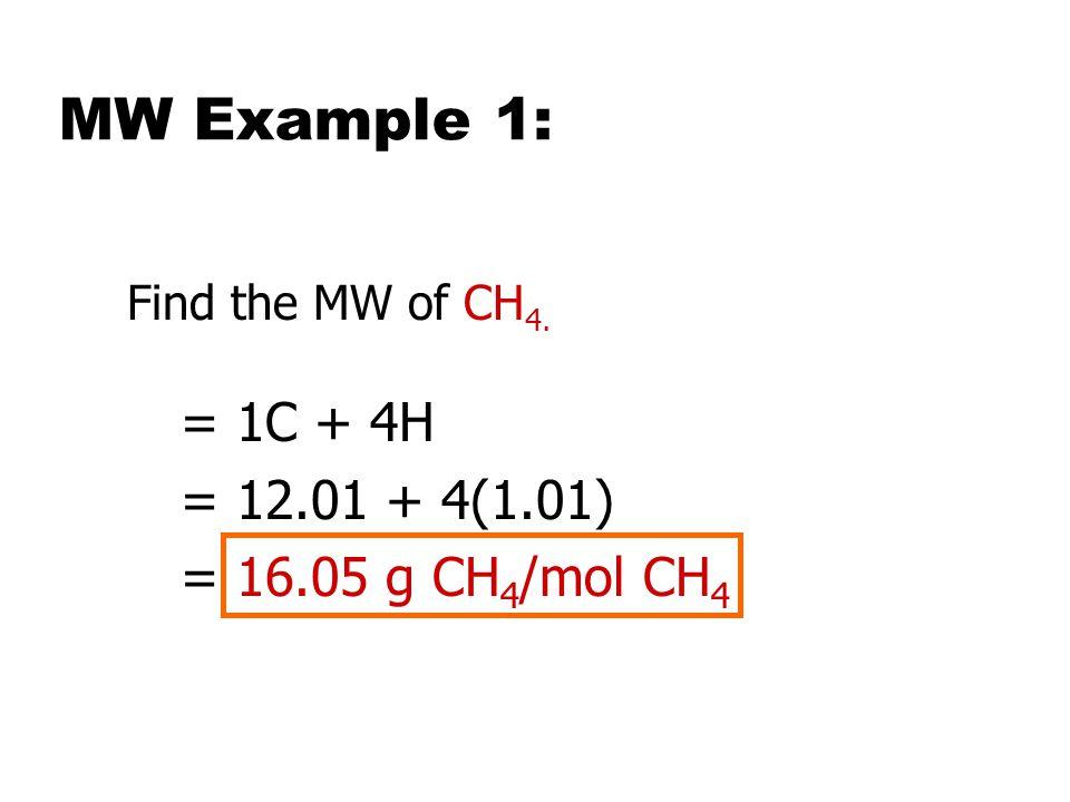 MW Example 1: = 1C + 4H = 12.01 + 4(1.01) = 16.05 g CH4/mol CH4