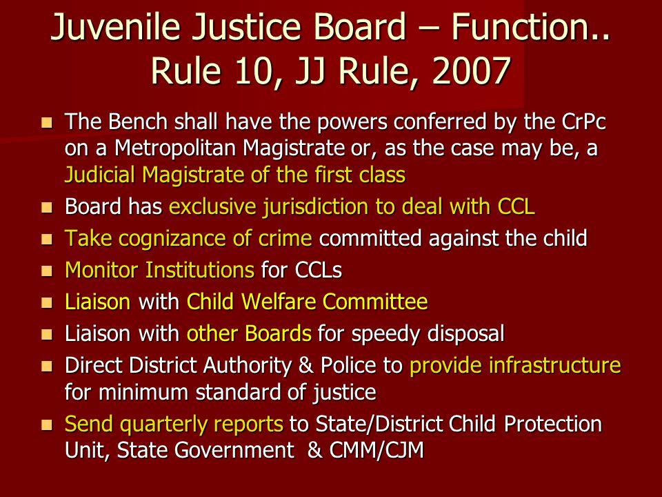 Juvenile Justice Board – Function.. Rule 10, JJ Rule, 2007