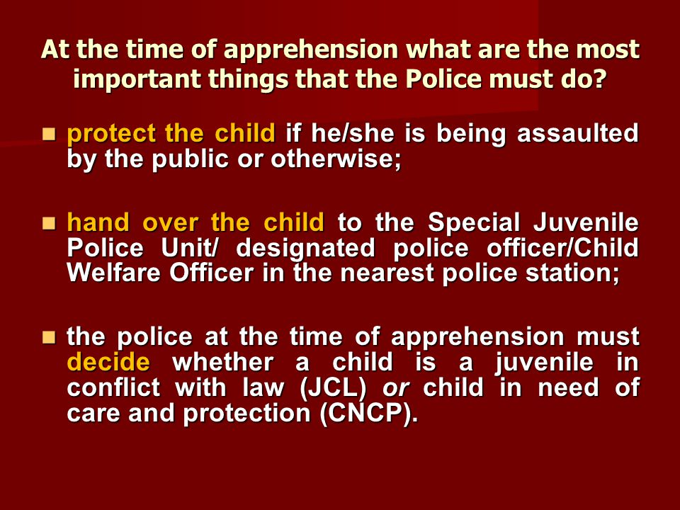 At the time of apprehension what are the most important things that the Police must do