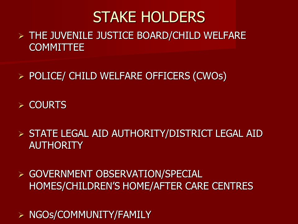 STAKE HOLDERS THE JUVENILE JUSTICE BOARD/CHILD WELFARE COMMITTEE