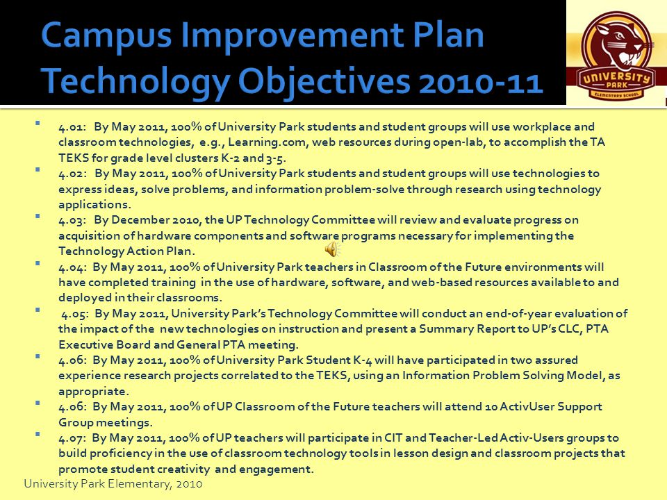 Campus Improvement Plan Technology Objectives 2010-11