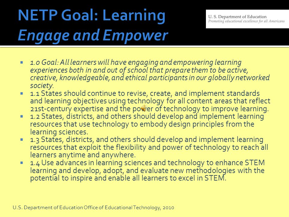 NETP Goal: Learning Engage and Empower