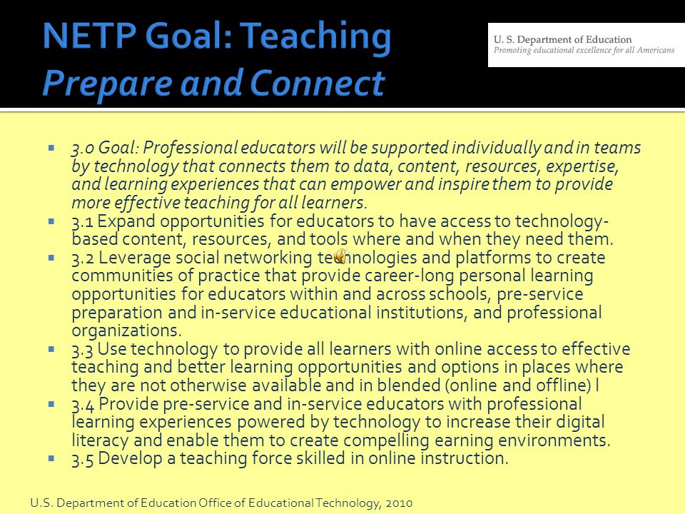 NETP Goal: Teaching Prepare and Connect