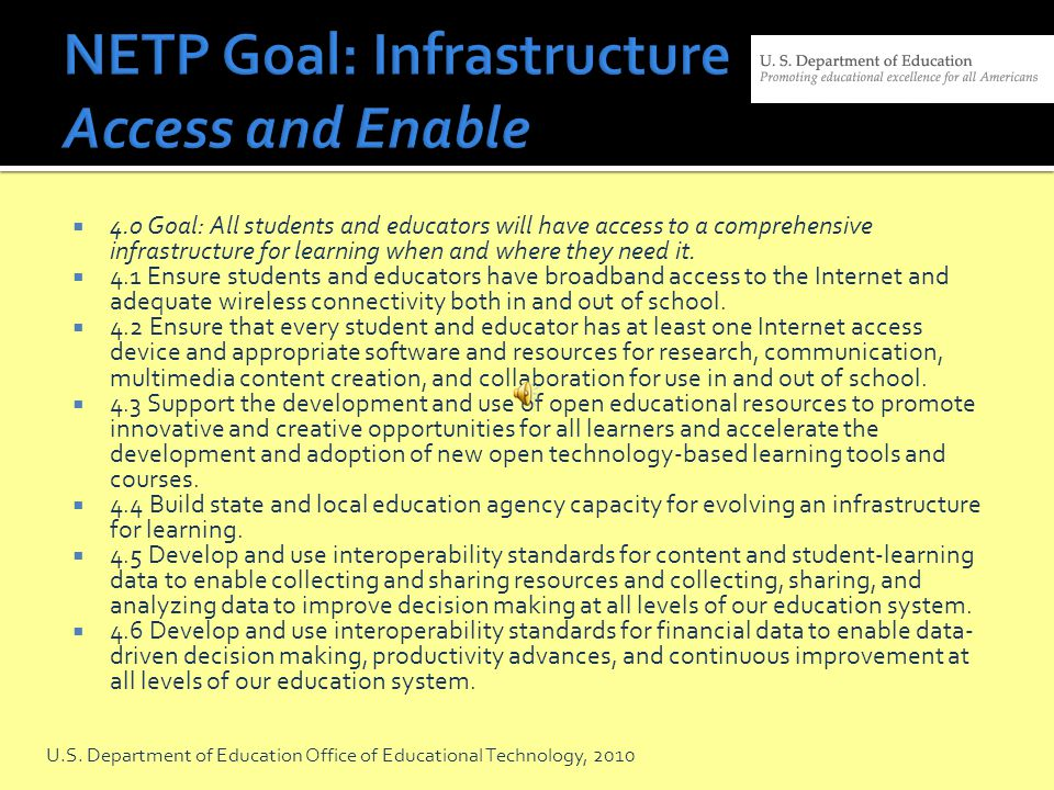 NETP Goal: Infrastructure Access and Enable
