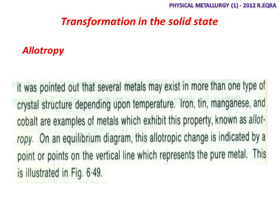 Transformation in the solid state