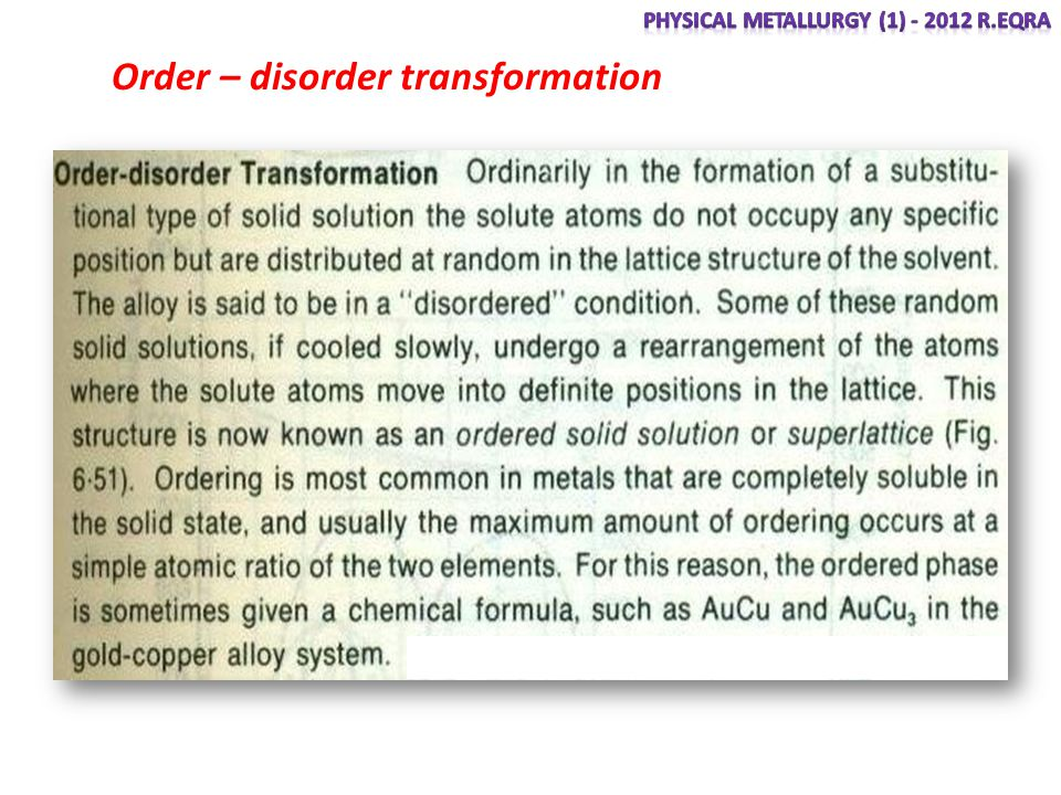 Order – disorder transformation