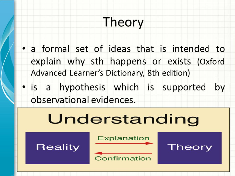 Theory a formal set of ideas that is intended to explain why sth happens or exists (Oxford Advanced Learner's Dictionary, 8th edition)