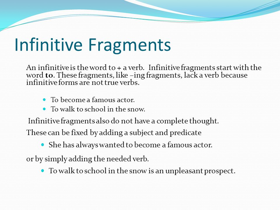 Infinitive Fragments